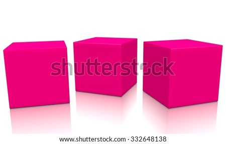 Three pink 3d blank concept boxes next to each other, with reflection, isolated on white background. Rendered illustration. - stock photo