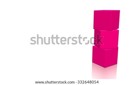 Three pink 3d blank concept boxes on top of each other, isolated on white background. Rendered illustration. - stock photo