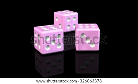 three pink Dices - reflected on a black background