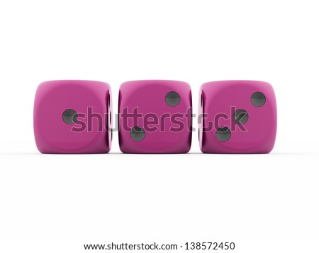 Three pink dices rendered on white background - stock photo