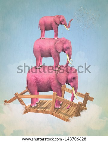 Three pink elephants in the sky on the bridge. Illustration - stock photo