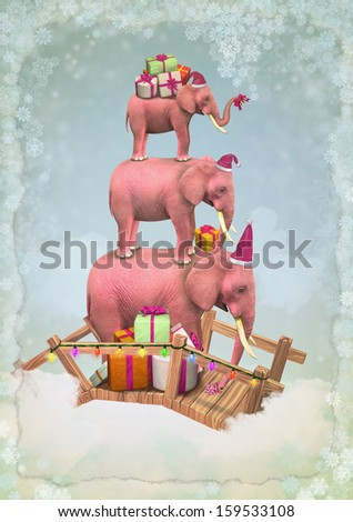 Three pink elephants in the sky with Christmas boxes.  Illustration - stock photo