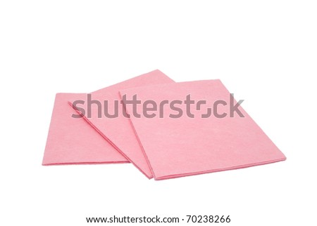 Three pink napkins for cleaning. On a white background - stock photo