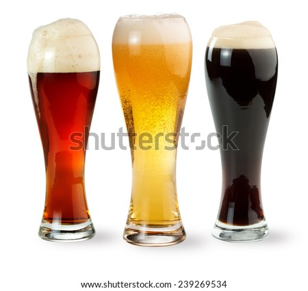 three pints of beer isolated on white background - stock photo