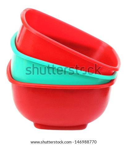 Three plastic bowl over white background - stock photo