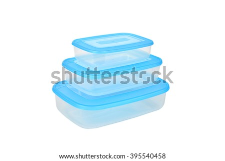 Three plastic containers for food - stock photo