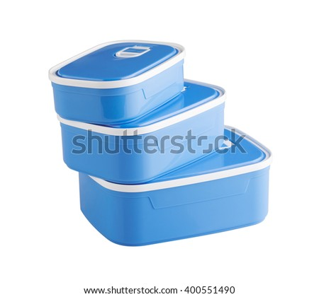Three plastic food boxes isolated on white background - stock photo