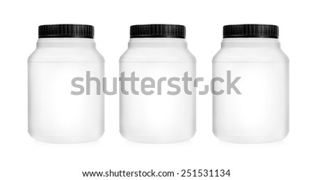 Three plastic jars set in a row isolated on white background - stock photo