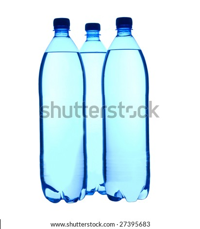 Three plastic  1,5 liter bottled water isolated - stock photo