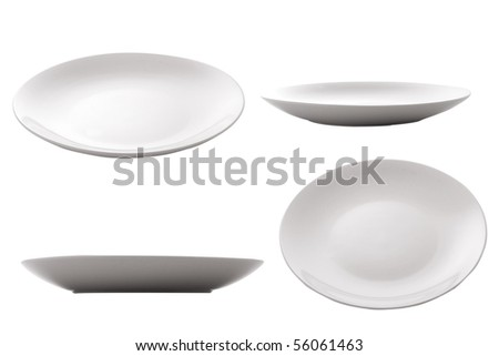 three point of view of empty plate - stock photo