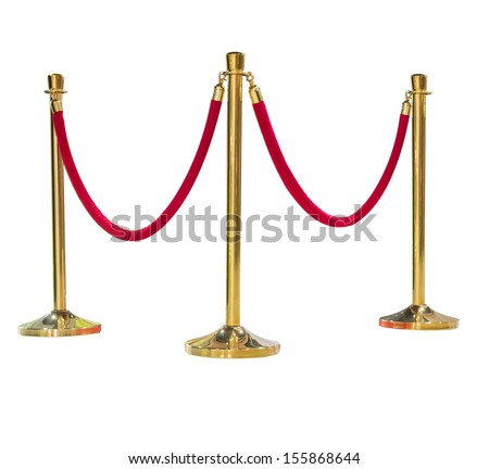 three poles golden barricade isolate on white background - stock photo