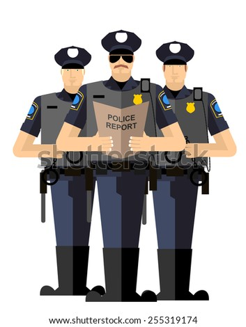 Three police officers. Police silhouette. Police isolated. The Arrest - stock photo