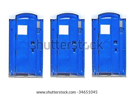 three portable toilets isolated on white - stock photo