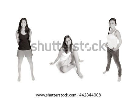 Three portraits of a girl wearing different outfits, isolated on white studio background, monochrome - stock photo