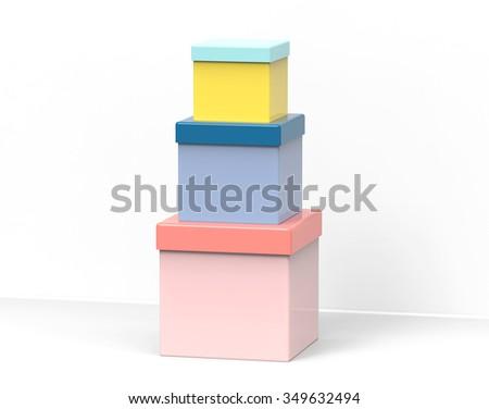 Three present boxes - stock photo