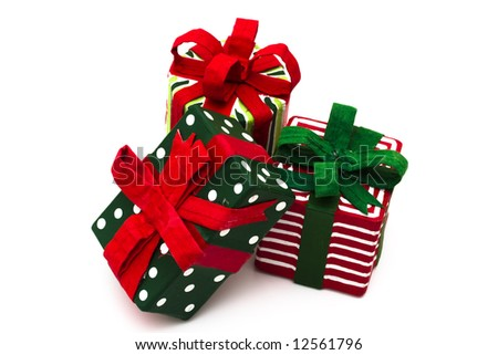 Three Presents isolated on a white background