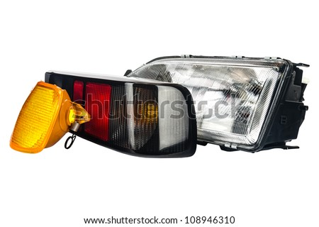 three primary lights used to illuminate the car - stock photo