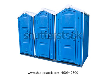 Three public toilets on the white background. Public toilets isolated