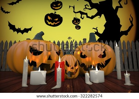 Three pumpkins for Halloween with candles and a fence background with yellow moon, background for websites and mobile applications