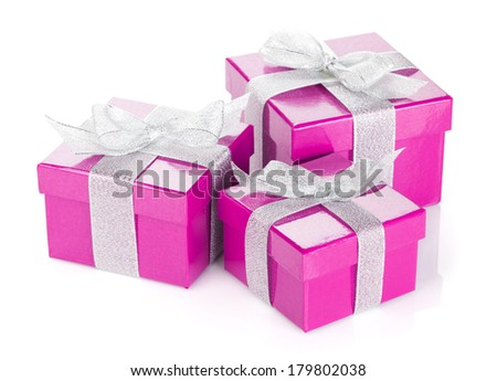 Three purple gift boxes with silver ribbon and bow. Isolated on white background - stock photo