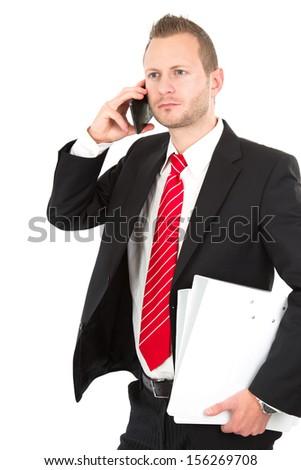 Three quarter length of businessman phoning - stock photo