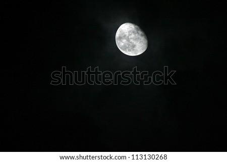 three quarter moon - stock photo