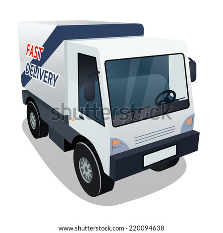 Three Quarter of Delivery Cargo Truck Graphic on White Background - stock photo