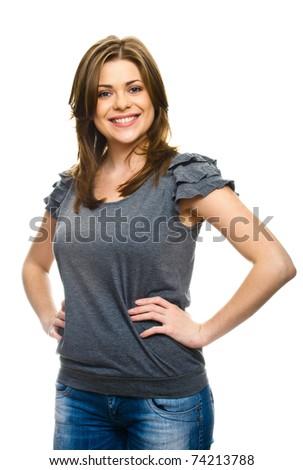 three quarters woman portrait on white - stock photo