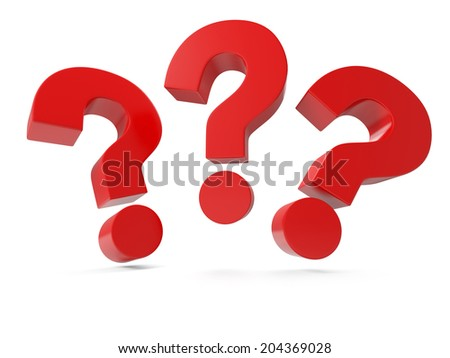 Three question mark isolated on white background - stock photo