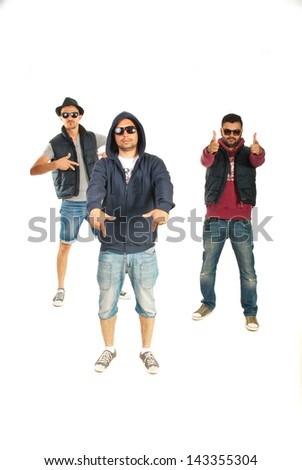 Three rappers men gesturing isolated on white background - stock photo