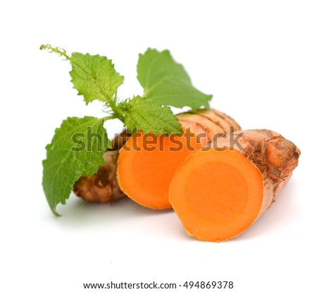 Three Raw Turmeric Slices over white background