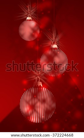 Three Red and White Striped Bauble Decorations hanging in christmas themed background image - stock photo