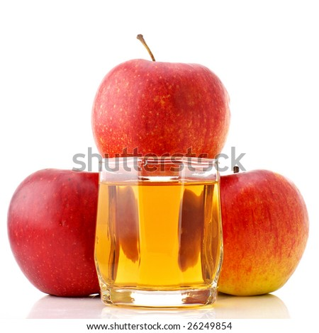 Three red apples and glass of juice on white background.