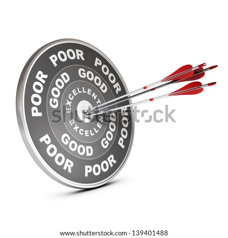 Three red arrow hitting the center of a quality target with the words poor, good and excellent, 3D render over white. - stock photo