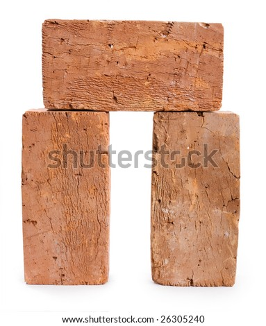 three red-brick on a white background