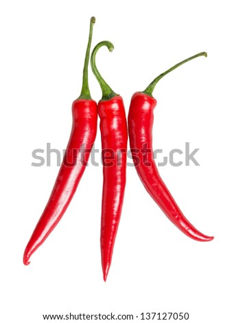 three red chili peppers, isolated on white - stock photo