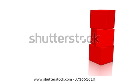 Three red 3d blank concept boxes on top of each other, isolated on white background. Rendered illustration. - stock photo