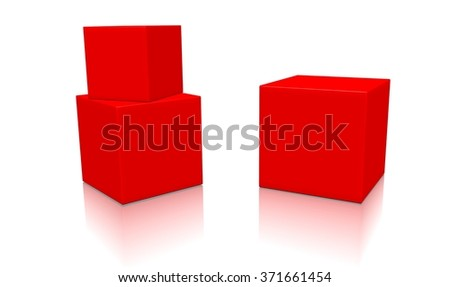 Three red 3d blank concept boxes with shadows isolated on white background. Rendered illustration. - stock photo