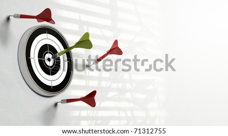 three red darts failed to hit the center of the target and a green dart made the perfect shot image over a white background - stock photo
