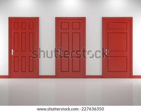 Three red door of a white carved walls - stock photo