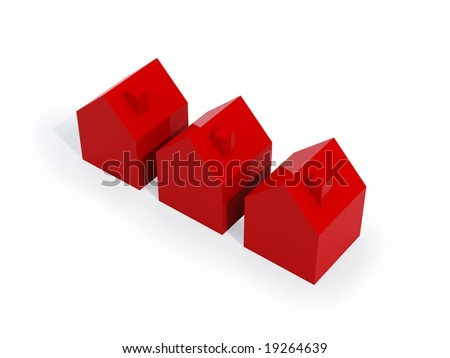 three red houses isolated on white background. FIND MORE houses in my portfolio
