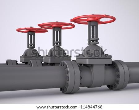 Three red oil valves on white background - stock photo