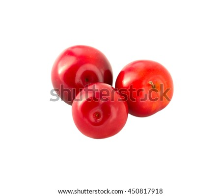 three red plums isolated on the white background