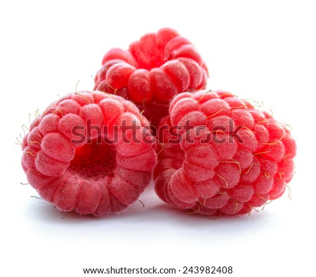 Three Red Ripe Juicy Raspberries Isolated on the White Background - stock photo