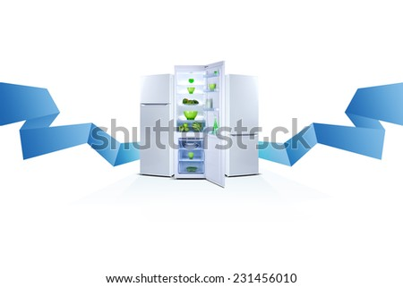 Three refrigerators on white. Blue stripe. Line. Open door, Class A+ - stock photo