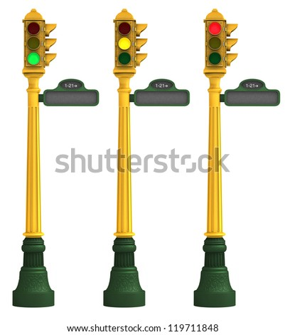 Three retro traffic lights featuring green, amber and red lights on a white background with clipping paths - stock photo
