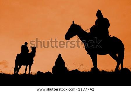 Three riders - stock photo