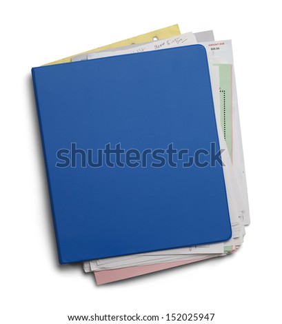 Three Ring Binder With Shuffled Papers Isolated on White Background.