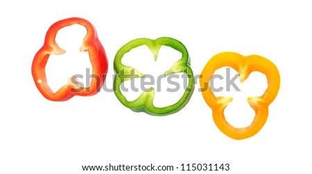 three rings bell pepper isolated on white
