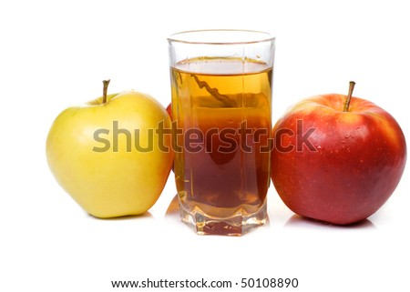 three ripe apples and glass